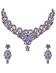 I Jewels Traditional Gold Plated Stone Necklace Set With Maang Tikka For Women (Blue) (M4024Bl)