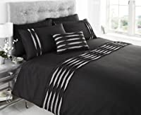 Aurea Diamante Ruffle Pleated Faux Silk Super King Duvet Cover Bedding Set Black from BEDMAKER