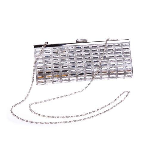 Fawziya Diamond and Crystal Women Bagutte Clutch Evening Bag Purse Handbag - Silver
