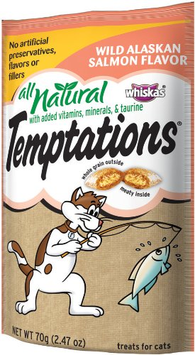 All Natural Temptations Wild Alaskan Salmon Flavor Treats for Cats, 2.47-Ounce Pouches (Pack of 12)