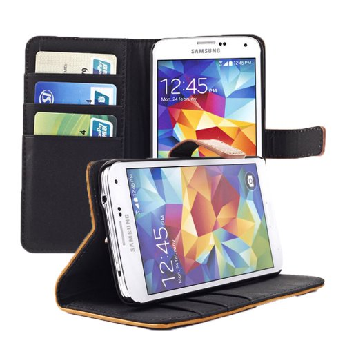 Pioneer Tech® Book Flip Leather Wallet Case Cover For Samsung Galaxy S5 -Crazy Horse (Wld-Deep Blue)
