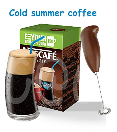 GREEK FRAPPE 300g (10.58oz) NESCAFE + Frappe glass + Hand mixer-Frother (Nescafe Frappe Mixer compare prices)