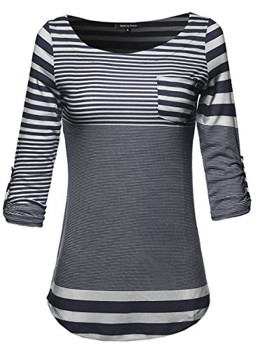 3/4 Sleeve Contemporary Stripe Boatneck Top w/ Front Pocket Navy L Size (Boatneck Tops For Women compare prices)
