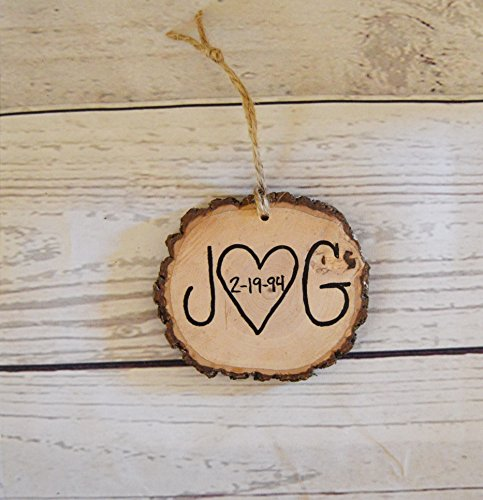 Wood Tree Slice Christmas Ornament , Couple Initials , Anniversary Gift , Wedding Favors