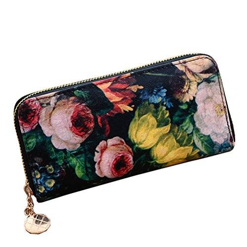Lonson® Women's Wallet Flower Floral Oil Painting Leather Purse Cards Holders Bag Handbags (Floral Painting)