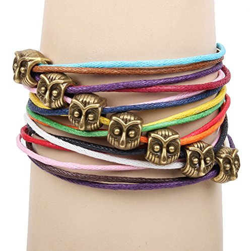 Winter's Secret Bronze Owl Pattern Hand Braided Diy Color Wax Rope Ancient Wrap Bracelet