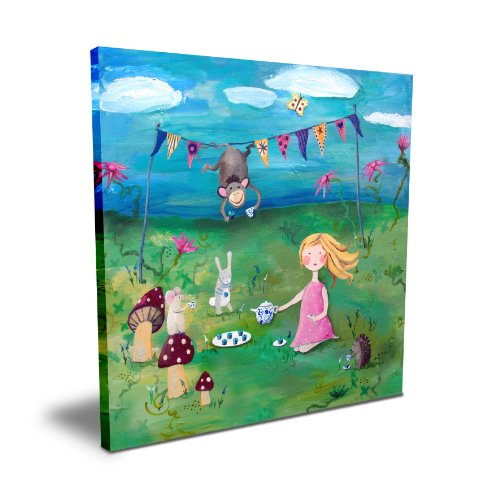 "Cici Art Factory Blonde Girl Tea Party, 16""x 16"""