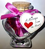 Love Scroll in Glass Heart Shaped Jar -