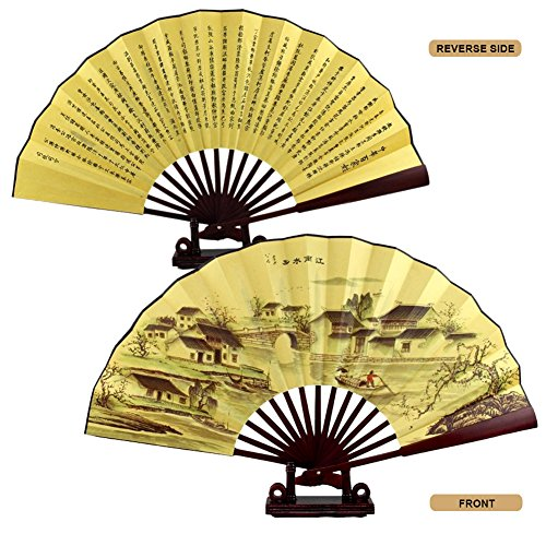CocoStore Chinese Japanese Folding Silk Hand Flower Bamboo Asian Pocket Fan Decor(random delivery) (Japanese Wall Fan Decor compare prices)