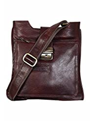 Hugme.Fashion Unisex Brown NDM Leather Square Sling Bag- 9 X2.5 X9 Inch