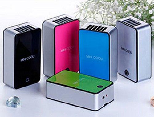 ひんやりミニクーラー軽量タイプ USB充電式 首下げストラップ付 簡単ワンプッシュ 暑い夏対策 各色取り揃え (ブラック)