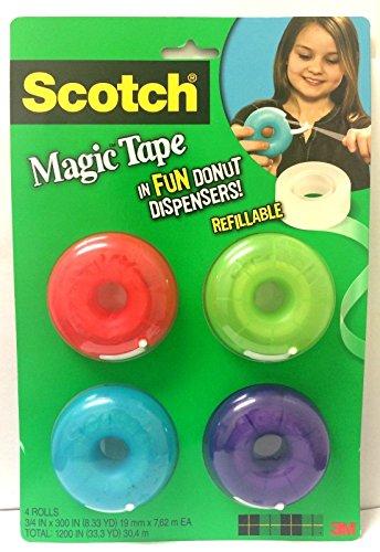Scotch Magic Tape Donut Dispenser, 3/4 x 300 Inches (155) (4 Pack) (Mini Tape Dispenser compare prices)