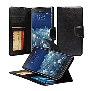 Galaxy Note Edge Case, ACEABOVE [Kickstand Feature] Samsung Galaxy Note Edge Wallet Case [Ultra Slim][Black] Premium PU Leather Flip Cover - Verizon, AT&T, Sprint, T-Mobile, International, and Unlocked - Flip Case for Samsung Galaxy Note Edge SM-N915S 201