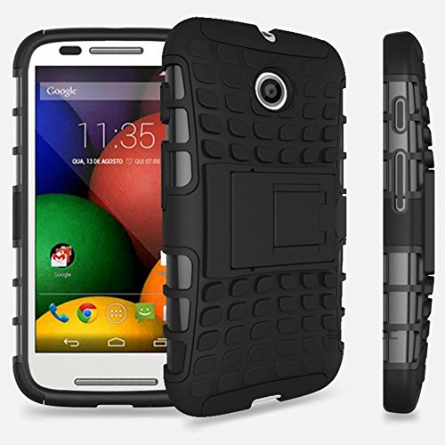 Dual Armor With Stand Back Bumper Shell Back Cover Case for Motorola Moto E (1st Generation) - Black : by Cool Mango (TM)
