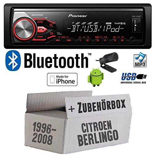 Citroen Berlingo - Pioneer MVH-X380BT - MP3/USB Bluetooth Autoradio - Einbauset