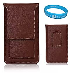 SumacLife Vertical PU Leather Credit Card Holder Waist Packs With Belt Loop Pouch Case Holster for iPhone 6 Plus / Samsung Galaxy Note 4 / Note Edge / Note 5 / E7 / LG G4 / LG G3 Vigor / LG G Vista / BLU Studio 5.5 D610a / HTC Desire 816 / OnePlus One White 5.5 inch + TM Wisdom Courage (Brown)