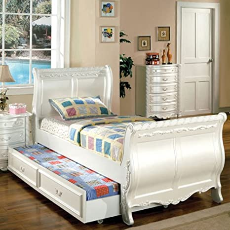 Alexandra Pearl White Finish Full Size Bed Frame w/ Trundle