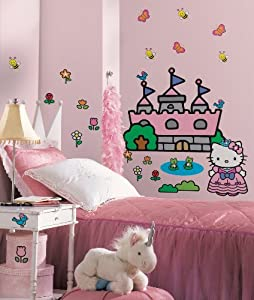 Hello Kitty Princess Castle Peel and Stick Giant Wall Decal Stickers Room Decor