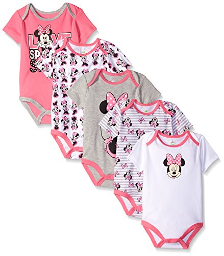Disney Baby Minnie Mouse 5 Pack Bodysuits, Multi, 3-6 Months