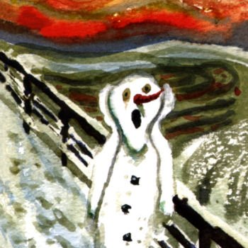 Pack of 10 Shelter & St Mungo's Charity Christmas Cards - Scary Snowman