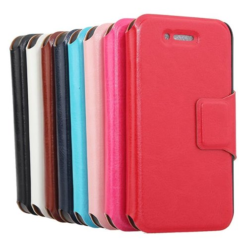 Magnetic Folio Litchi Pattern Pu Leather Case Cover For Iphone 4 4S
