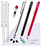 "Bundle of 3PCS Premium Branded 5.5"" Thin-Tip High Precision Universal Capacitive Stylus Pens + Extra 3 Replaceable Tips and 2 X 15"" Detachable Elastic Lanyards (Red/Black/Silver)"