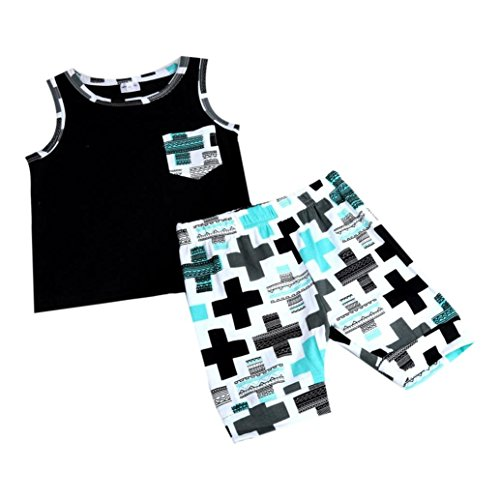 FEITONG 1Set Newborn Toddler Baby Infant Boys Girls Outfit Vest Tops+Shorts Clothes (Age:0-12M, black)