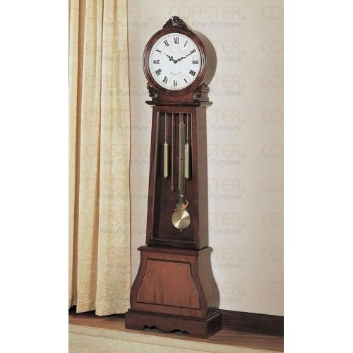 Rich Brown Finish Grandfather Clock By Coaster Furniture