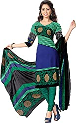 SDM Women's Crepe Printed Dress Material Unstitched (4396, green, Free Size)