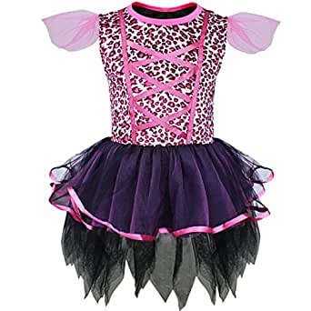 TIAOBU Girls Xmas Leopard Party Dance Dress Halloween Cosplay Costume Dress Up