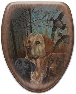 Comfort Seats C1B2E1-738-17AB Lab Trio Dogs Elongated Oak Toilet Seats, Antique Brass