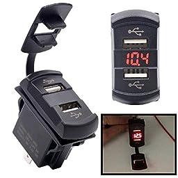 Qisc 12V Dual Port USB Charger Socket Voltage Voltmeter Rocker Switch Panel Car Boat