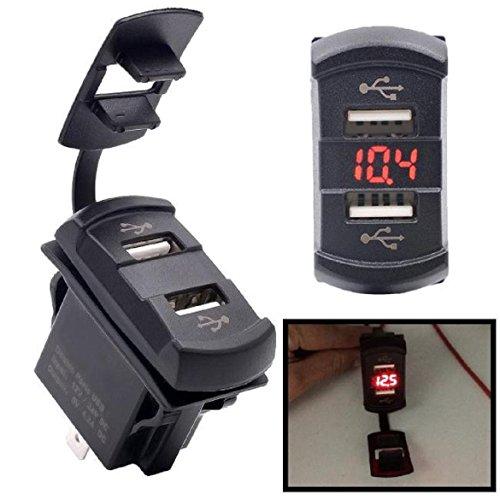 Qisc 12V Dual Port USB Charger Socket Voltage Voltmeter Rocker Switch Panel Car Boat (12 V Rocker Panel compare prices)