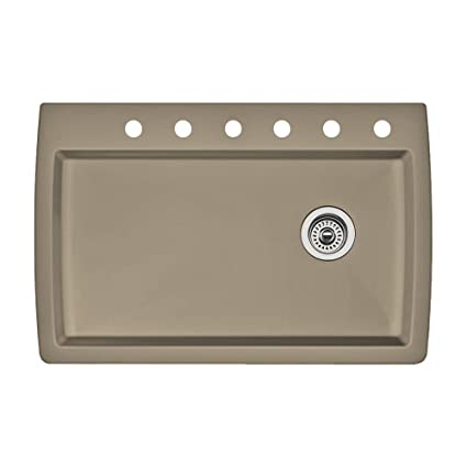 Blanco 441287-6 Diamond 6-Hole Single-Basin Drop-In Granite Kitchen Sink, Truffle