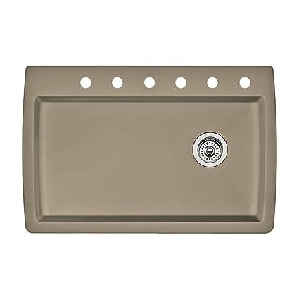 Blanco 441287-6 Diamond 6-Hole Single-Basin Drop-In Granite Kitchen Sink, Truffle