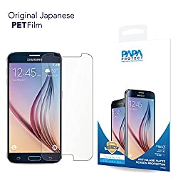 Samsung Galaxy S6 Papa Protect Anti Glare Matte Screen Protector | Pack of 3 Film Protectors | Original Japanese PET Film | True Touch | Perfect Fit | Scratch Protection | Unmatched Clarity | Avoids Direct Glare | Bubble Free Application | Lifetime Warranty