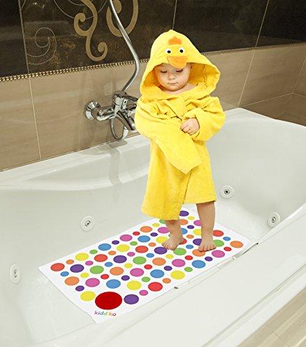 kiddiko spots dots vinyl non slip baby bath mat with built in heat sensitive water temperature. Black Bedroom Furniture Sets. Home Design Ideas