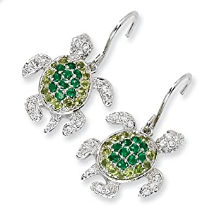 Sterling Silver Simulated Peridot/Simulated Emerald/ CZ Turtle Earrings