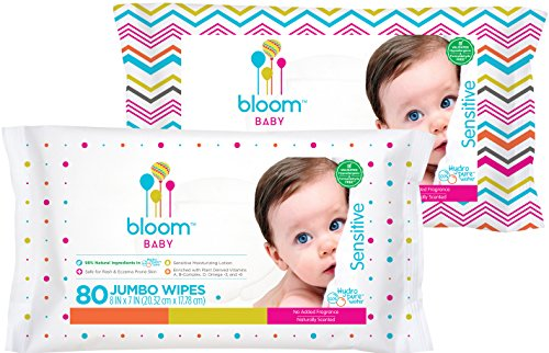 Bloom +KIND Jumbo Sensitive Baby Wipes Unscented, 80-Count