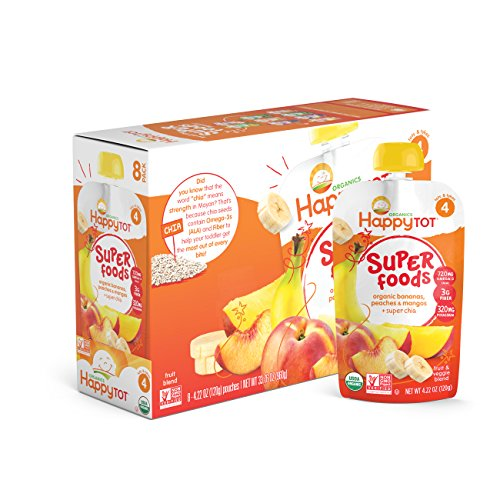 Happy Tot Organics Super Foods, Bananas, Peaches & Mangos + Super Chia, 4.22 Ounce (Pack of 16)