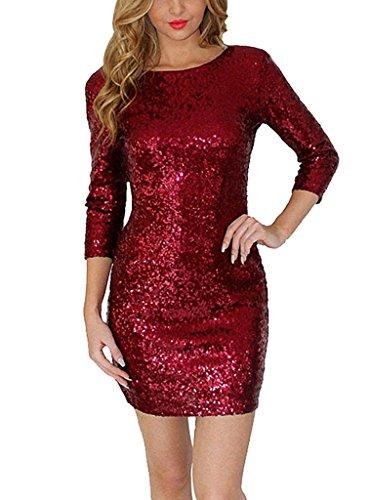 Women Sexy OL Fashion Sparkling Sequin Sexy Mini Club Pencil Dress 2XL