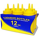 New Star 26085 Wide Mouth Plastic Squeeze Bottles, 12-Ounce, Yellow, Set Of 6