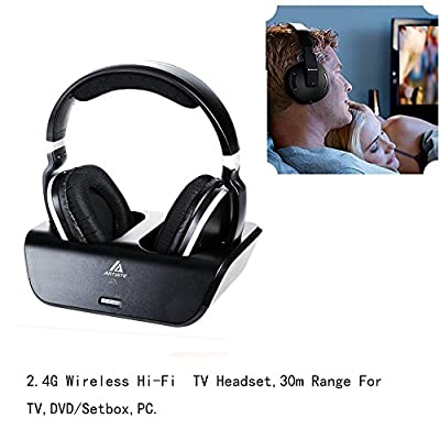 Wireless Stereo Over Ear Headphones ,Artiste Rechargeable Wireless Headphones for TV Listening W/2.4G UHF/RF Incl Wireless Transmitter that acts as the Headphones Charging Dock (Black)