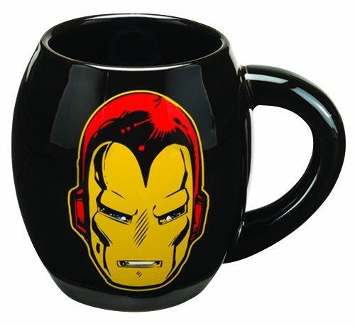 Vandor 26363 Marvel Iron Man 18 oz Oval Ceramic Mug, Black, Yellow, and Red (Marvel Character Mug compare prices)