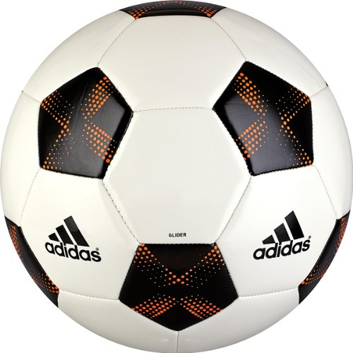 Adidas Glider Soccer Ball (White, Black, Warning, Size 5)