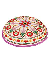 Elite Round White Ottoman Cotton Floral Embroidered Pouf Cover For Decor By Rajrang
