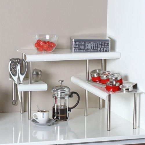 Etagère d'angle BLANCHE - pour la Cuisine - Salle de bain ou sur un bureau - Idéal pour gagner de la place