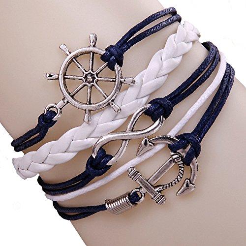 Dayan Women'S Nautical Rudder Anchor Bracelet Leather Rope Bangle Alloy Wrap