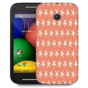 Snoogg Multiple Stars Orange Pattern Designer Protective Phone Back Case Cover For Motorola E / Moto E