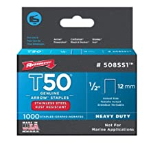Arrow Fastener 508SS1 Genuine T50 1/2 Stainless Staples, 1,000-Pack